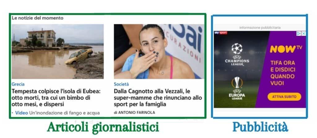 Corriere.it differenza tra articolo e pubblicità