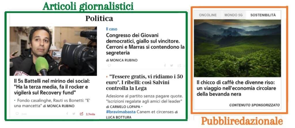 Corriere.it differenza tra articolo e pubbliredazionale